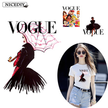 NIcediy Fashion VOGUE Patches Heat Transfer Iron On Transfers For Clothing Stripes Thermo Stickers Clothes Applique Washable