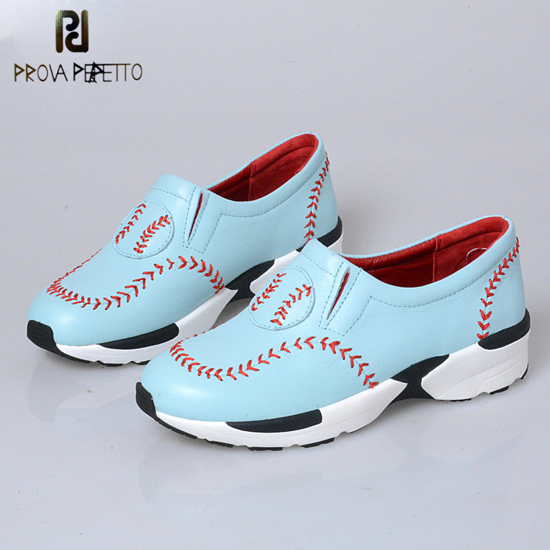 Prova Perfetto Leisure Style Baseball Sewing Thick Bottom Wedge Shoes Pointed Toe Concise Slip On Woman Vulcanized Shoes