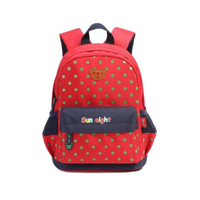 2017 fashion cute Dots Baby Backpack Children Canvas Cartoon bear School Bags Girls boys high quality Kindergarten Backpacks