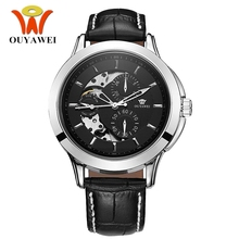 OUYAWEI Men Skeleton Mechanical Watch Black Automatic male Watches Luxury Top Brand Multifunction Watch Reloj Hombre 2017