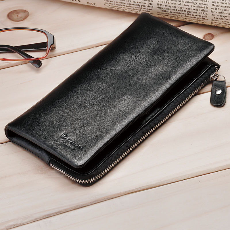 2017 Large Capacity Black Fashion Men Genuine Leather Clutch Bag Designer Wallet High Quality Famous Brand Male Long Solid Purse brand double zipper genuine leather men wallets with phone bag vintage long clutch male purses large capacity new men s wallets