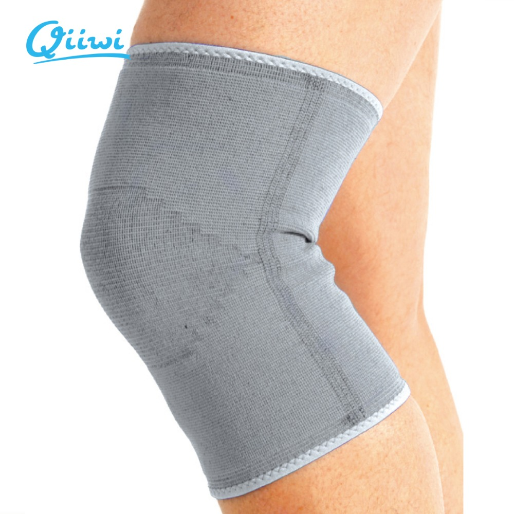Qiiwi high quality light grey Brace knee pads football volleyball leg injury gym elastic knee support knee safety guard strap
