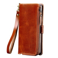 Wangcangli Genuine Leather Flip Case For iPhone 8 X High Quality Purse Zipper Card Slots Phone Bag For iPhone 6 6S 7 Plus Wallet