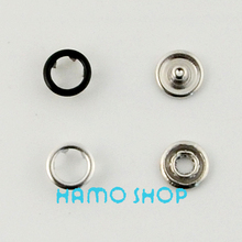 50pcs/lot 9.5mm Black Prong Open Ring No Sew Press Snaps Fasteners Brass Button Nickel Rivet Free shipping