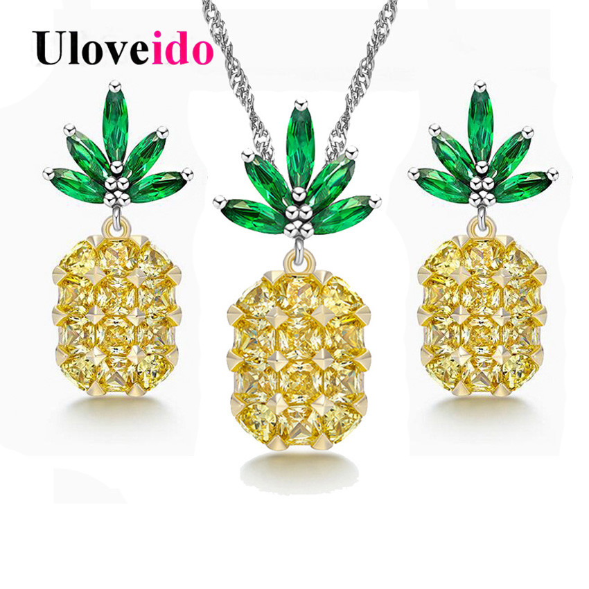 Uloveido Silver Color Dubai Jewelry Sets Decorations for Women Pineapple Jewelry Set Wedding Necklace and Earrings Brinco PT001