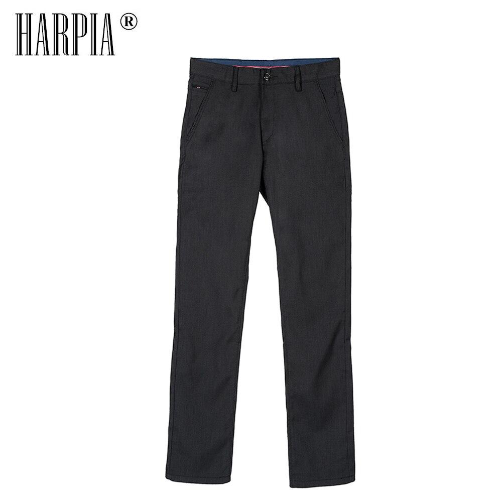 HARPIA otoño ocio Negro hombres pantalones clásicos bolsillo media cintura Pantalones rectos ajustados elásticos Casual pantalones largos