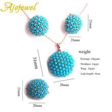 Ajojewel New Blue Hydrangea Flower Jewelry Sets For Women Ladies Beautiful Resin Earrings Pendant Necklace Ring Size 7,8,9