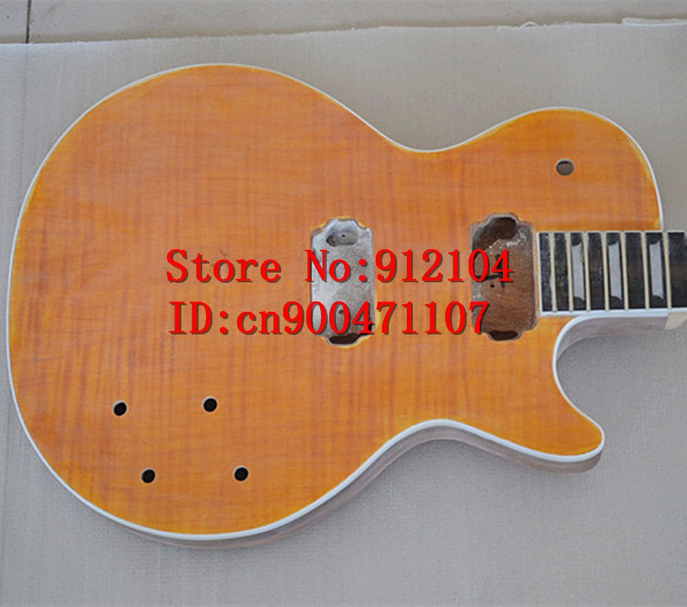new Big John unfinished LP electric guitar with tiger stripes maple mahogany body without hardware standard guitar no paint 1198