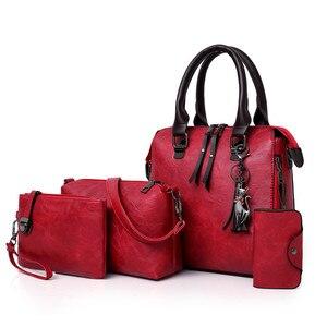 Four sets wax oil pu leather bag ladies handbags women handbag designer handbag tasse lhigh quality woman bag famous sac a main(China)
