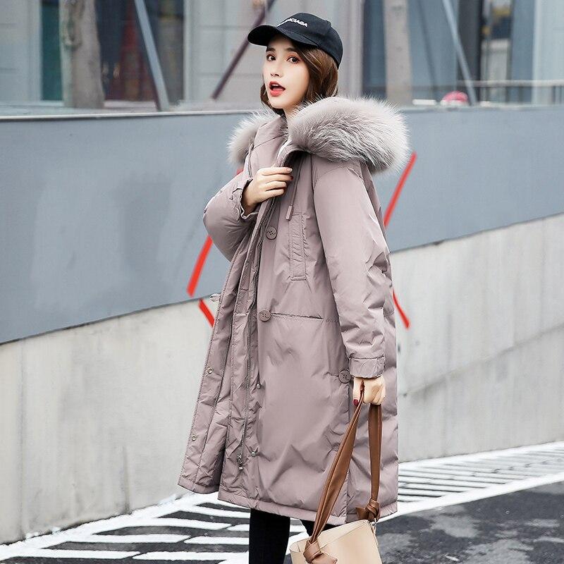b5b80a6b3a0 Утепленные Белая куртка с утиным пухом Женская мода 2019big меховой  воротник мех енота теплые куртки длинные женские вниз Верхняя одежда Пальт..