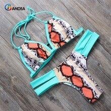 Maillot de bain bandeau pour femmes, bikini, imprimé léopard, sexy, col licou, rembourré, ensemble deux pièces, HA004, 2019