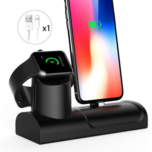 2 In 1 Charging Stand For Apple Watch 4/3/2 Silicone Charge Dock Station For Iphone X/XS/8/7 Cable Management Desktop Nightstand