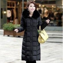 НОВЫЙ Ницца Зимние женщин Плюс размер М-5XL Большой Лисий Мех воротник Утолщение Белый Гусиный пух Пальто женщин Вниз Куртки Куртка CP1133