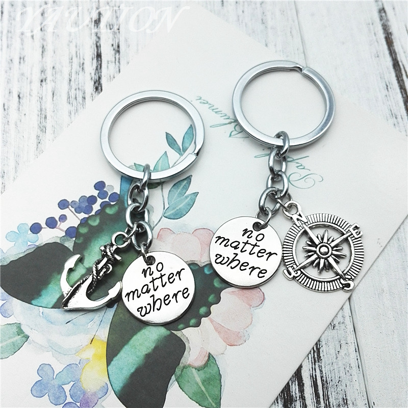 2019 Fashion Keychain NO MATTER WHERE Best Friends Compass Keychain Ring Holder Souvenir For Gift