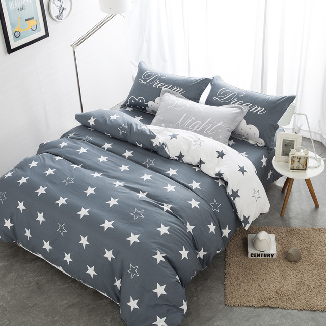 White And Grey Stars 4pcs Bedding Sets 100 Cotton Queen New Design Duvet Cover Flat