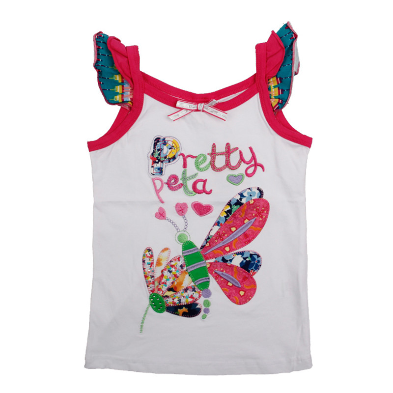 2016 girl summer clothes 2 colors butterfly causal style girl vest hig hquality nova kids wear clothes girl vests tank tops