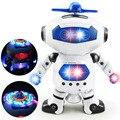360 Rotating Espaço Robô da Dança Musical Caminhada Iluminar Brinquedo Eletrônico Robô de Brinquedo de Presente de Aniversário de Natal Para Criança