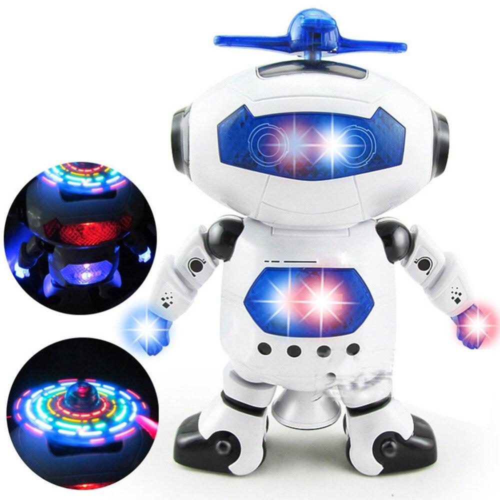 360 Rotating Space Dancing Robot Musical Walk Lighten Electronic font b Toy b font Robot Christmas