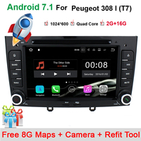 1024*600 7 Quad Core Android 7.11 Car DVD For Peugeot 308 408 308SW with WIFI Radio GPS Navigation Support OBD Bluetooth maps