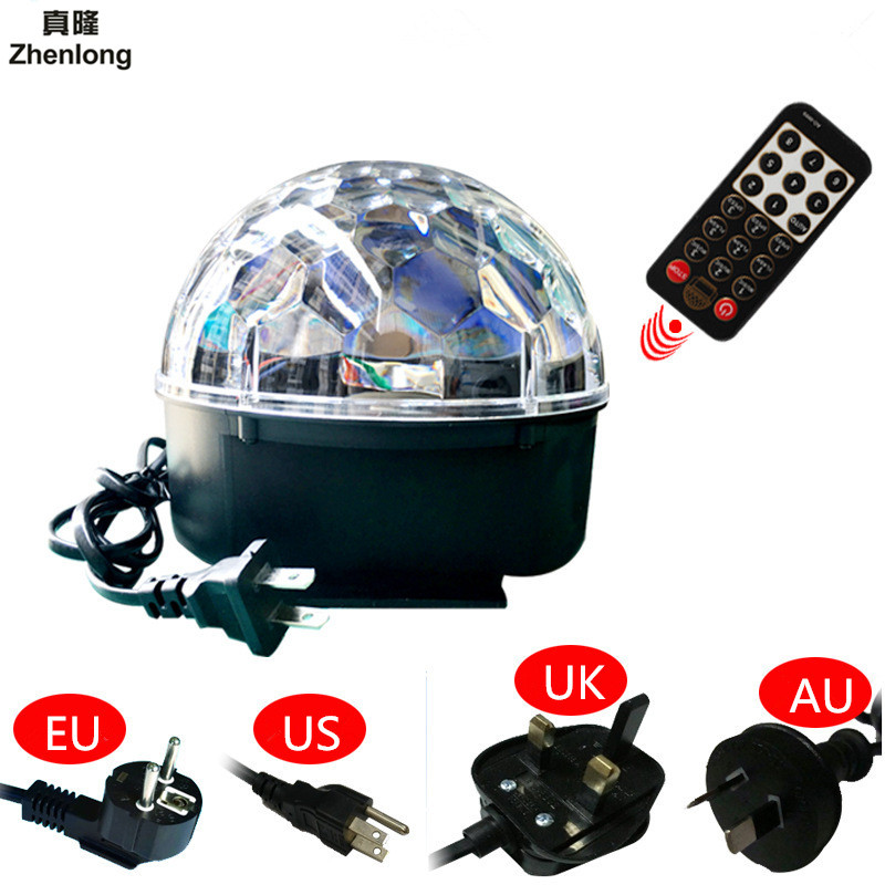 9 LED Color Chang Remote Control Disco Dj Stage Lighting 10W LED RGB Crystal Magic Ball Effect Light DMX512 KTV Party Decorative