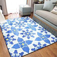 Geometric Blue Pattern Carpet Mat Mediterranean Style Rugs For Living Room Tea Table Sofa Bedroom Anti Slip Rectangle Soft Mats