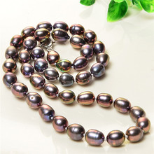 7-8mm Natural pearl Brown freshwater necklace baroque short round irregular