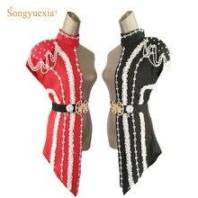 Songyuexia conjunto de roupas femininas, nova moda, retalhos, cantores de palco, dj, traje de dança adulto, roupas com gola de corrente de pérolas brancas