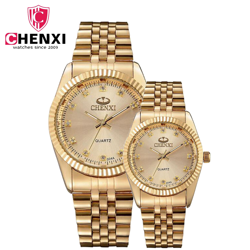 CHENXI New Fashion Brand Gold Quartz Watch Male  Female Quality Stainless Steel Casual Luxury Lovers' Wrist Watches Golden 004A power trains набор с краном 48627