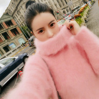 Autumn Winter Women Pink Pullovers Sweater Knitted Elasticity Casual Jumper Fashion Slim Thick Turtleneck Warm Female Sweaters