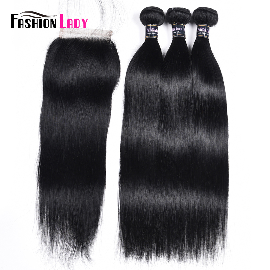 Fashion Lady Pre-Colored Brazilian Straight Hair Bundles With Closure Jet Black 3 Pcs Human Hair Bundles With Closure Non-Remy