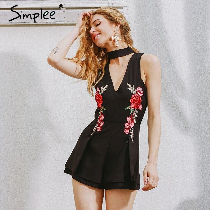 430882534c6 Simplee Halter elegant jumpsuit romper 2017 Hollow out embroidery playsuit  for women deep v overalls short leotard