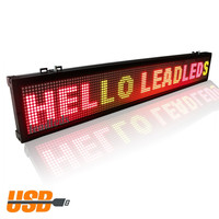 40x6.3 Inches USB Programmable Scrolling LED Display Board 3 Color Light Red, Green Amber for Indoor Store