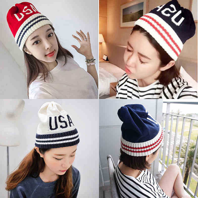 Korean pointed hat knitting hat for men and women lovers fall and winter 2017 han edition of a new cold cap