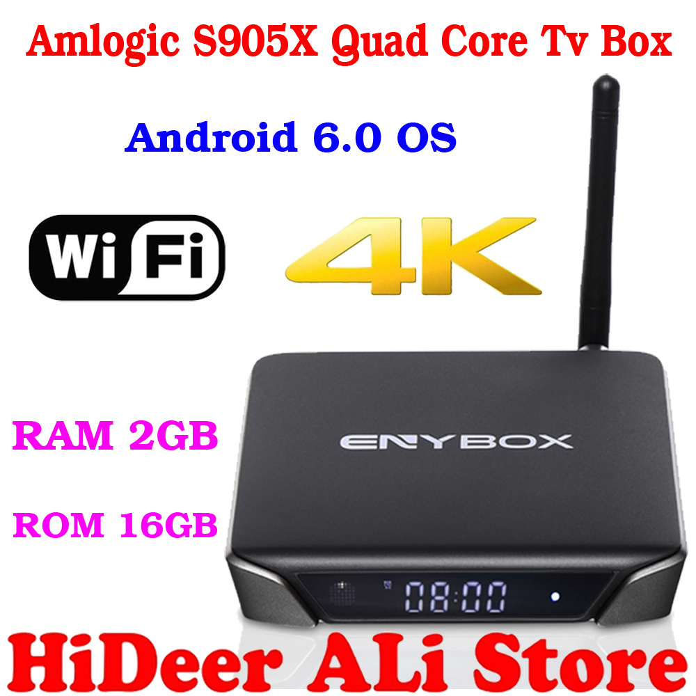 Newest amlogic S905X quad core tv box RAM 2GB ROM 16GB ENYBOX X1 suport dual wifi 4K android 6.0 better than MXQ PRO MXQPRO