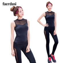 Sexy Black mesh Yoga Sport suit For Women Indoor exercise tracksuit Yoga set Female costumes Sleeveless