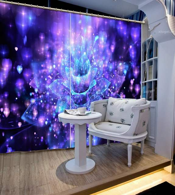 US $24.96 68% OFF|custom curtains modern living room curtains Fantasy blue  purple flower drawing photo Blackout Window Drapes 3D Curtains-in Curtains  ...