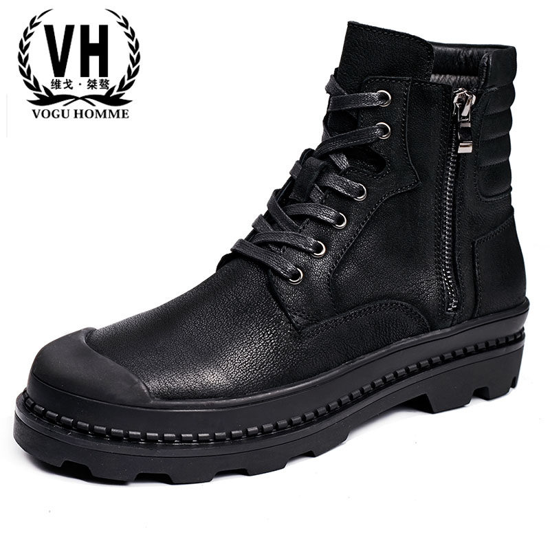hot 2017 authentic men s boots british tide martin boots men s leather boots leather boots lovers scooter 34 45 men Martin leather shoes short boots retro nubuck zipper Bangjun high tide boots in autumn winter British retro men shoes