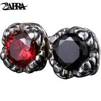 ZABRA Gül Kırmızı Siyah Taş Kore Punk Rock Moda Küpe Erkekler ve Kadınlar Güzel Takı için 925 Gümüş Saplama küpe