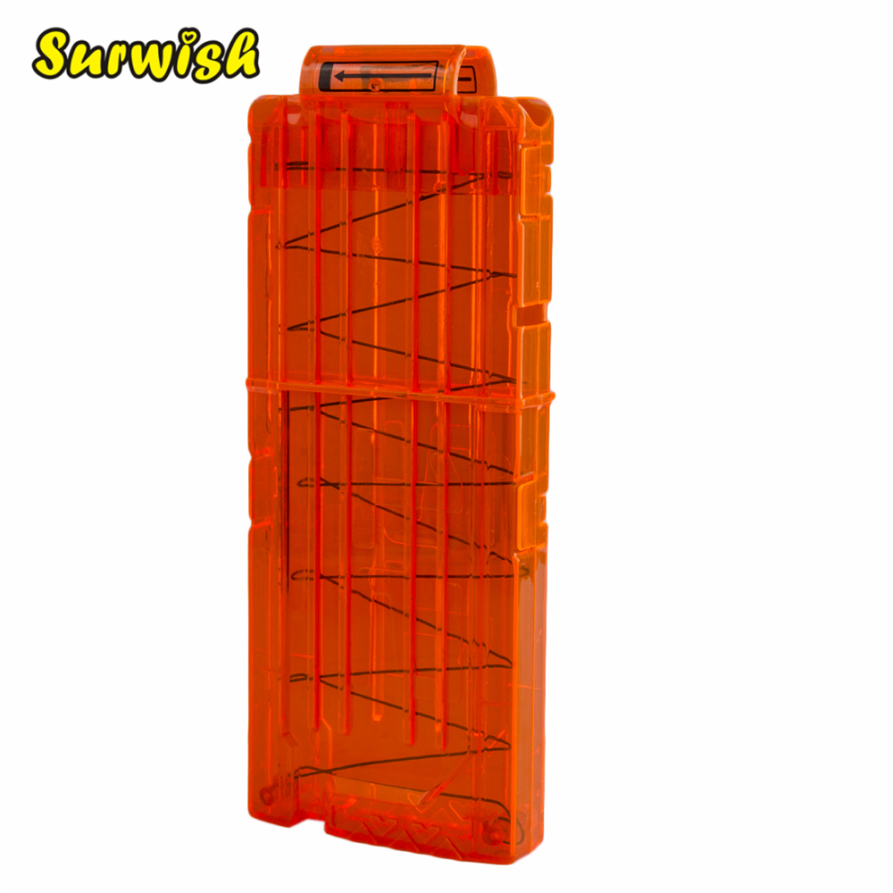 Surwish 12 Reload Clip Magazines Round Darts Replacement Plastic Magazines Toy Gun Soft Bullet Clip Orange For Nerf N-Strike ...
