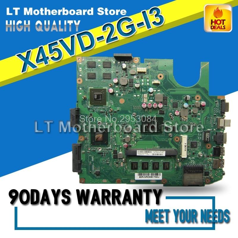 Motherboard For ASUS X45VD-2G-I3 X45V Laptop Mainboard Tested Well for asus k43sd laptop motherboard processor i3 8 memory 2g mainboard 100