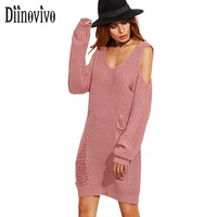 Sexy Off Shoulder Personality Tassel Hole Sweater Pullover Dress New V Neck Long Sleeve Autumn Women