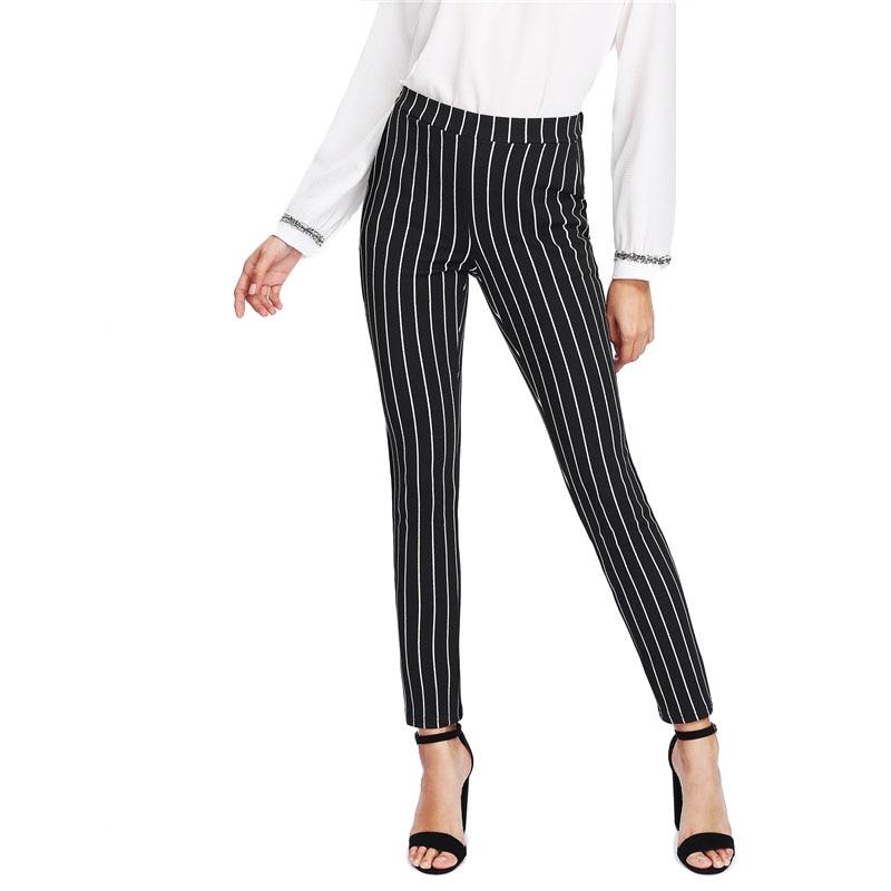 SHEIN Vertical Striped Skinny Pants Women Elastic Waist Pocket OL Style Work Trousers 18 Spring Mid Waist Long Pencil Pants 15