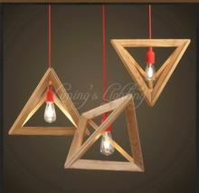 Nordic Triangle Chandelier Art Cafe Solid OAK Wood Wooden E27 Pendant Lamp Light Creative for Restaurant Home 110V~220V