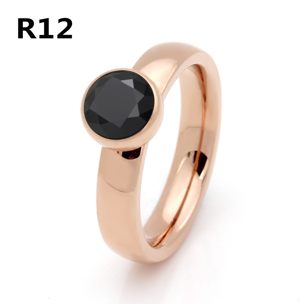 2017 Top Quality Exquisite Jewelry Stainless Steel Plated Rose Gold Big Crystal Ring For Wedding Promotion Cant Move R012