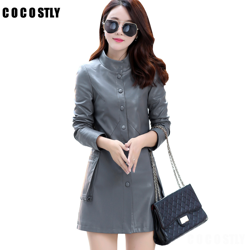 High Quality 2017 Winter Women Faux Leather Jacket Female Elegant Long Trench Coat Ladies Casual Outwear Clothing Plus Size 5XL