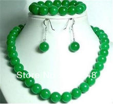 """Free shopping new DIY Beautiful 10mm Green jades chalcedony round Beads chain strand Necklace 18"""" Bracelet 7.5"""" Earrings MY1418"""