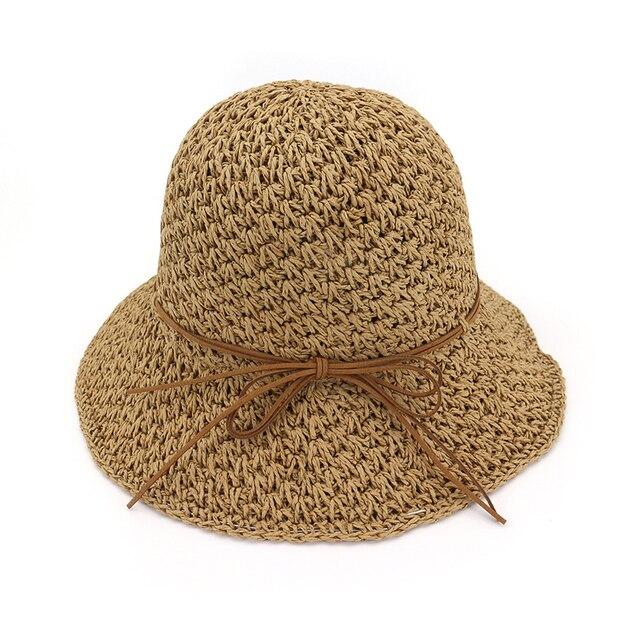 13a021a6bef High Quality Korean Style Women Summer Handmade Crochet Straw Sun Hats  Hollow Beach Hat Ladies Bucket Hat Foldable Sunhat GH-524
