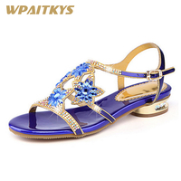 2018 Rhinestone Women's Sandals Fashion Noble Leather Women's Shoes Low heeled Diamond Sandals Purple Blue Two Colors Available