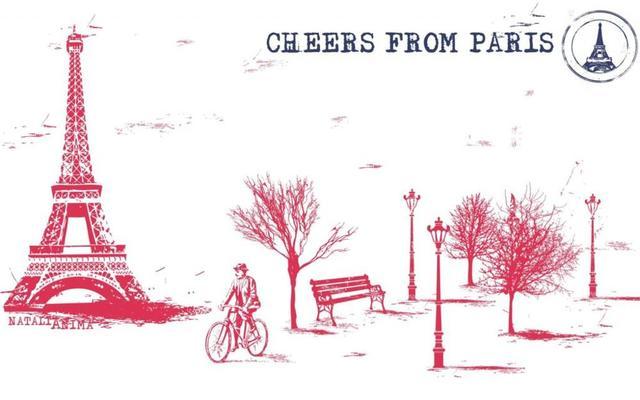 Городской велосипед деревья Эйфелева Башня скамейке Париж Франция город велосипед деревья 'Размер Украшения Дома Холст Печати Плакатов