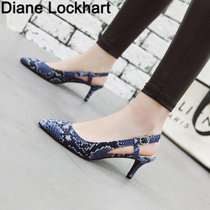 Image 1 - 2019 Spring Women Shoes Pumps Snake print High Heels Shoes Elegant Mid Heeled Sexy Pointed Toe Slingbacks Wedding Party Shoes